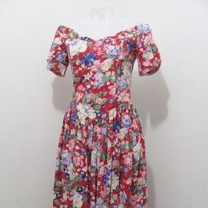 Vintage Gunne Sax 80s Midi floral Corset Dress
